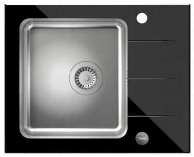 QUADRON Zlewozmywak FORD 116 stal/czarne szkło HB3562SC3BS*