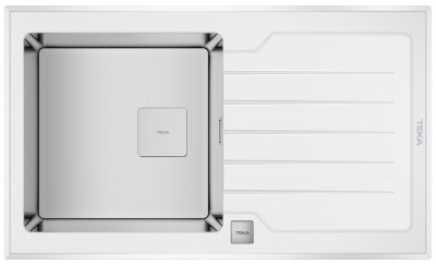 TEKA Zlewozmywak DIAMOND RS15 1B 1D 86 REV stal/białe szkło 115100012 (S)*