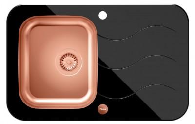 QUADRON Zlewozmywak GLEN 211 miedziany/czarne szkło HB8078SC3FC1*