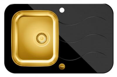 QUADRON Zlewozmywak GLEN 211 złoty/czarne szkło HB8078SC3FG1*