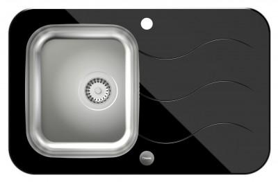 QUADRON Zlewozmywak GLEN 211 stal/czarne szkło HB8078SC3FBS*