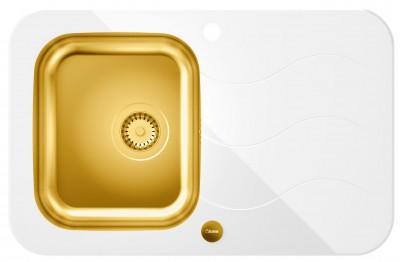 QUADRON Zlewozmywak GLEN 211 złoty/białe szkło HB8078SB3FG1*